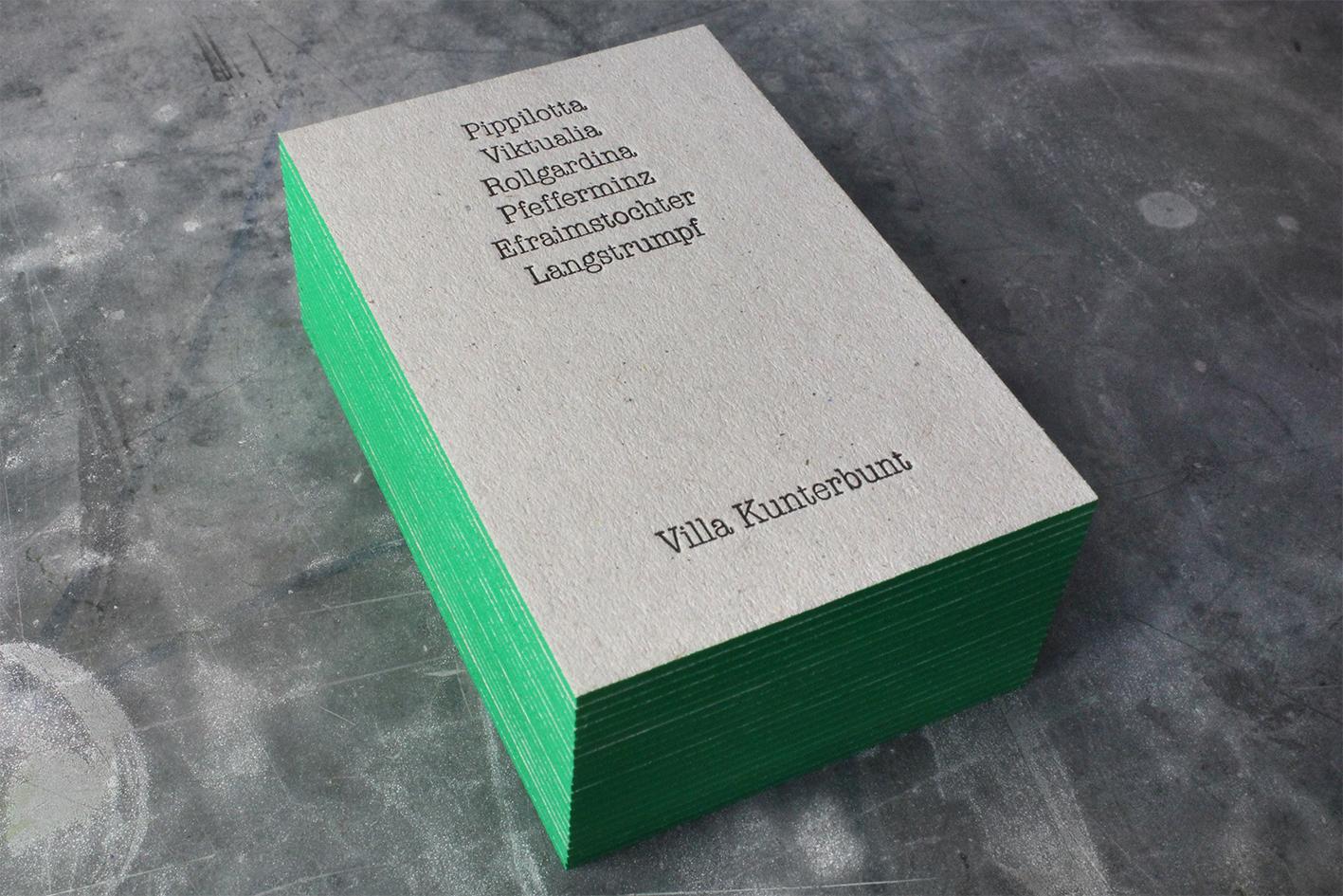 Visitenkarten Letterpress Farbschnitt