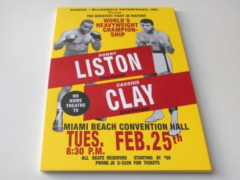 Letterpress Buchdruck Baumwollkarton Sonny Liston Cassius Clay 1964