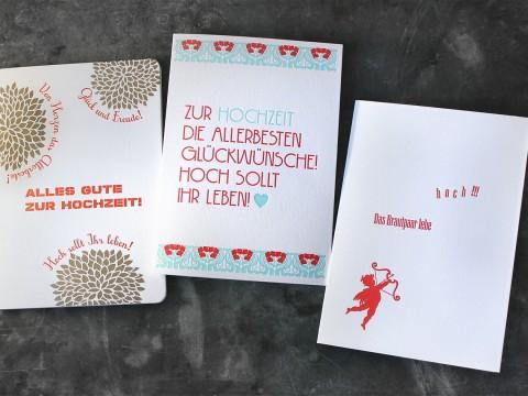 Glückwunschbillet zur Hochzeit Letterpress Buchdruck Baumwollpapier