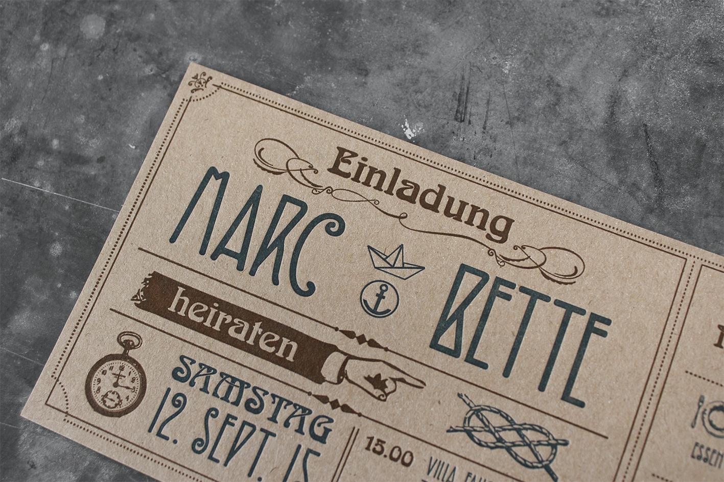 Letterpress-Hochzeitseinladung  Buchdruck Recyclingkarton