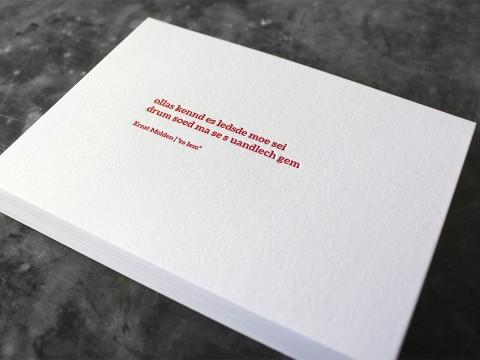 Ernst Molden Mundart Karte Letterpress Buchdruck Baumwollpapier