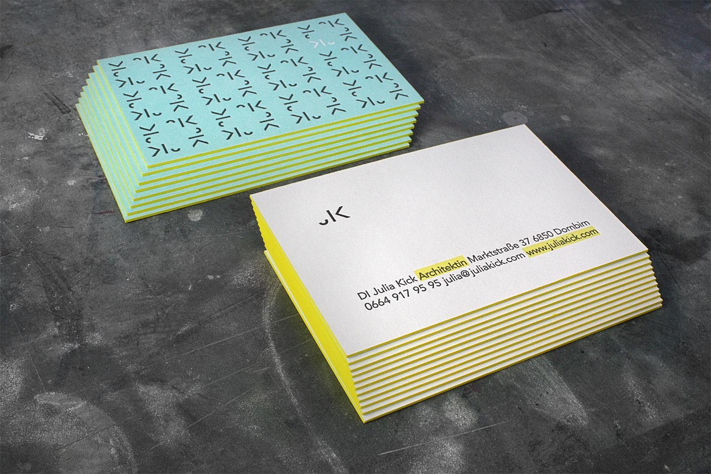 Schöndruck Letterpress Visitenkarten Farbschnitt Letterpress
