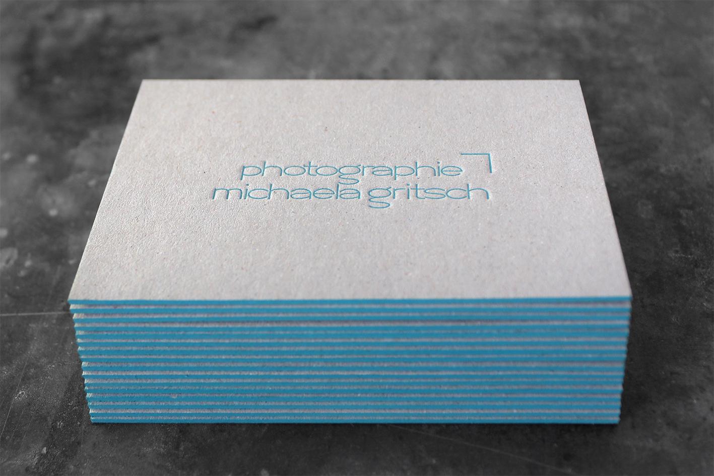 Visitenkarten Letterpress Farbschnitt Buchdruck Graukarton