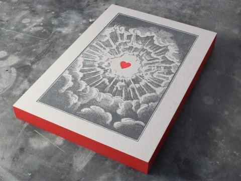 Graukarton Letterpress Buchdruck Farbschnitt Heidelberger Tiegel Postkarte