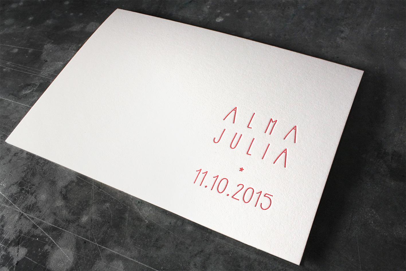 Billet Baumwollpapier Letterpress Buchdruck Geburtsanzeige Geburt Nachwuchs Wien
