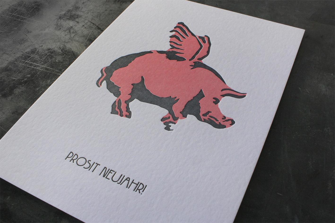 Karte Buchdruck Letterpress Glückwunsch Prosit Neujahr Frohes neues Jahr
