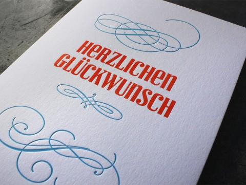 Billet Geburtstag Gratulation Letterpress Buchdruck Wien Heidelberger Tiegel