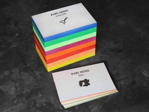 Visitenkarten Letterpress Farbschnitt Buchdruck