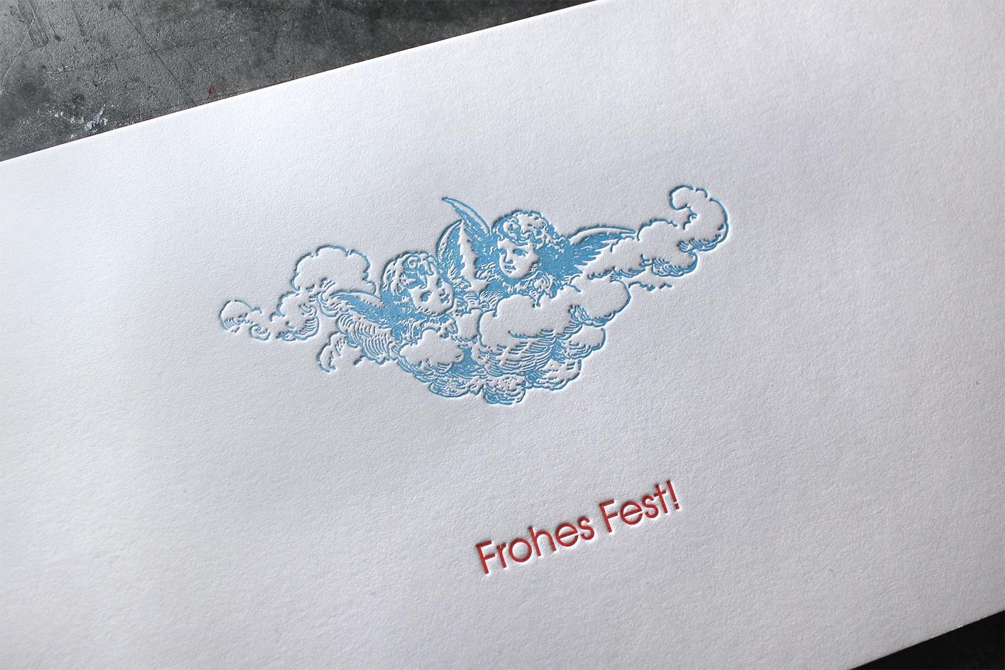 Weihnachten Baumwollpapier Buchdruck Letterpress Wien Heidelberger Tiegel Frohes Fest