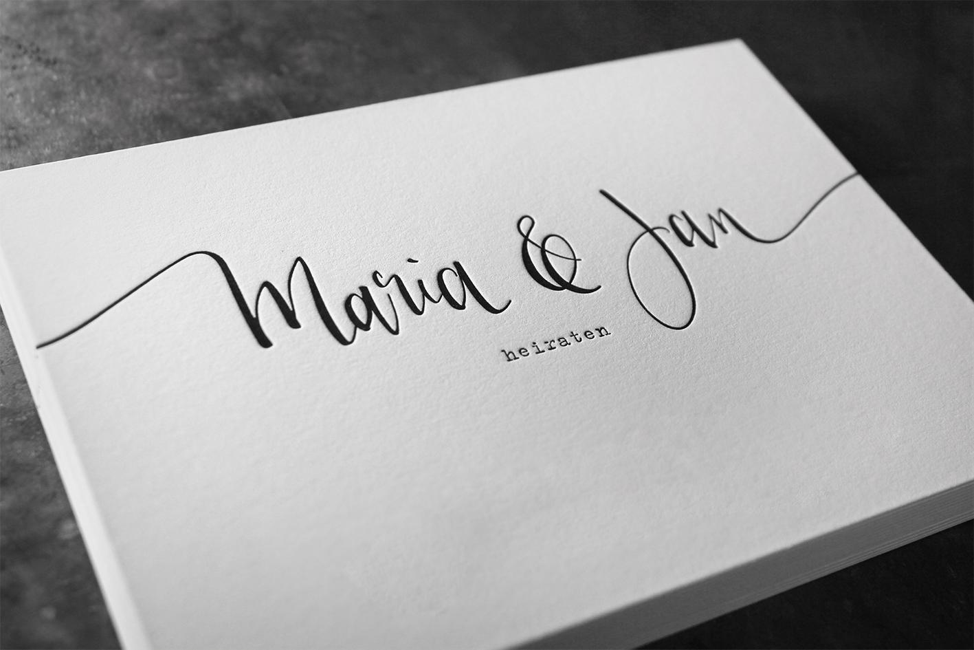 Letterpress Buchdruck Baumwollpapier Wien Hochzeit Einladung Hochzeitseinladung Prägedruck außergewöhnlich ausgefallen exklusiv Tiefprägung Kalligrafphie