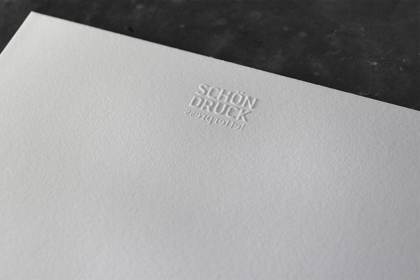 Blindprägung Baumwollpapier Letterpress Buchdruck Wien außergewöhnlich