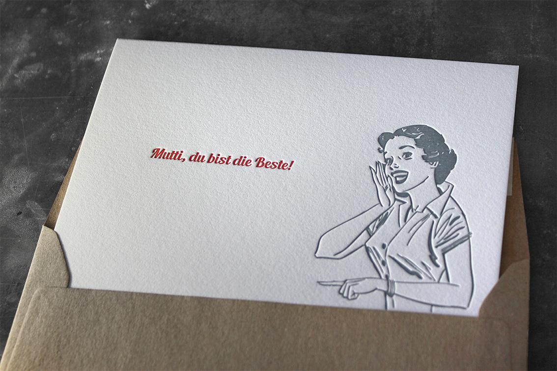 Muttertagskarte Letterpress Buchdruck Baumwollpapier Muttertag
