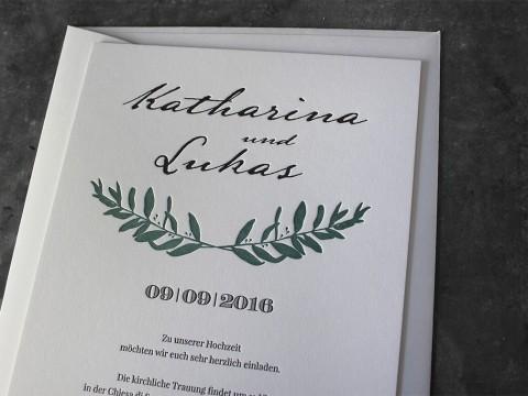 Einladung Hochzeit Hochzeitseinladung Gmund Cotton Baumwollpapier Baumwollkarton Letterpress Wien Buchdruck Olivenzweig außergewöhnlich hochwertig