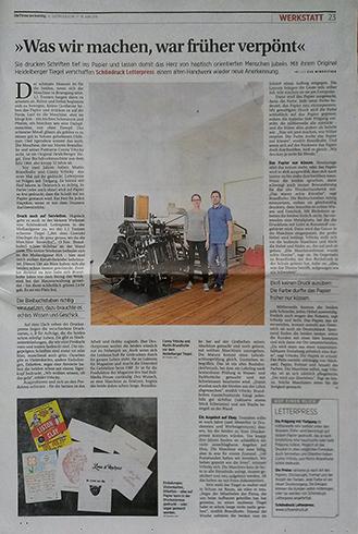 Presse am Sonntag SCHÖNDRUCK Letterpress Kritik Buchdruck Wien Mollardgasse Feedback Zeitungsartikel Artikel