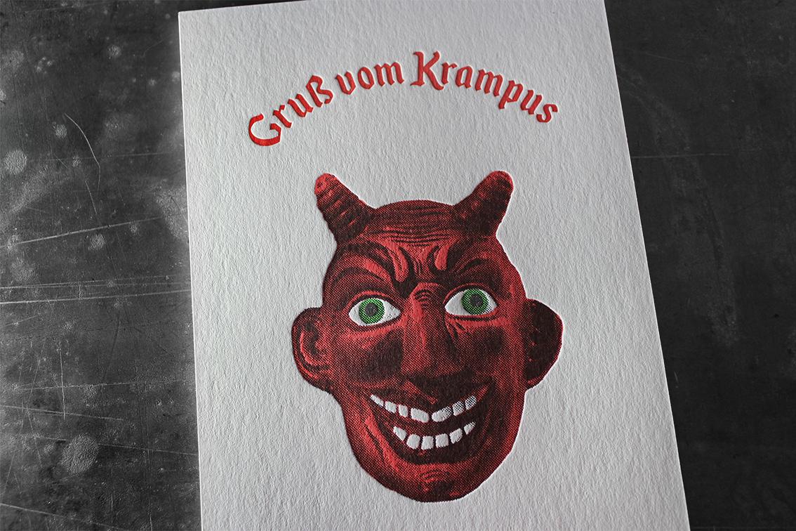 Karte Krampus Krampuskarte Letterpress Buchdruck Wien Prägedruck hochwertig außergewöhnlich Grußkarte Gruß