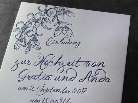 Letterpress Buchdruck Prägedruck Baumwollpapier Tiefprägung Heidelberger Tiegel Wien Hochzeit Vermählung Heirat Einladung Hochzeitseinladung heiraten Manufaktur exklusiv außergewöhnlich besonders hochwertig ausgefallen