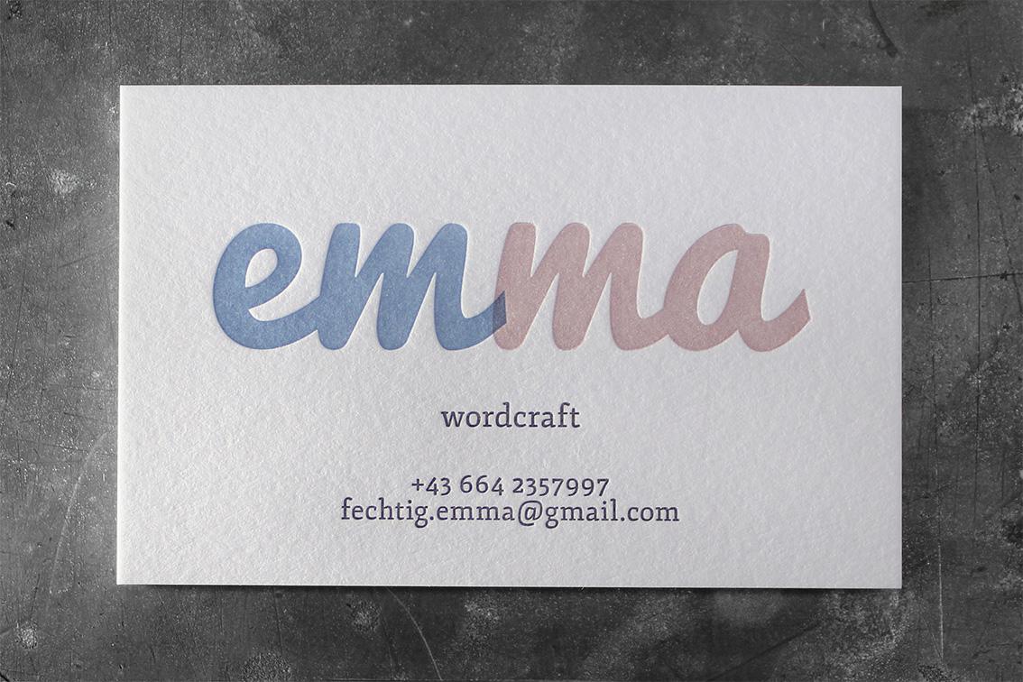 Letterpress Buchdruck Pastellfarben Prägedruck besonders hochwertig speziell Tiefprägung Hochdruck Tiegel Heidelberger Visitenkarten ausgefallen