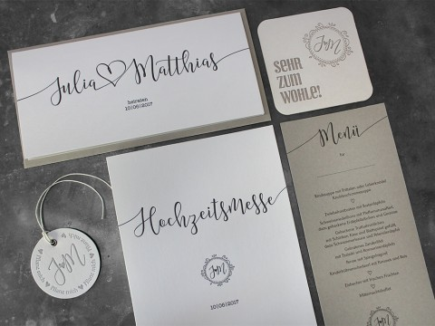 Hochzeitspapeterie aus unserer Letterpress-Druckerei in Wien.