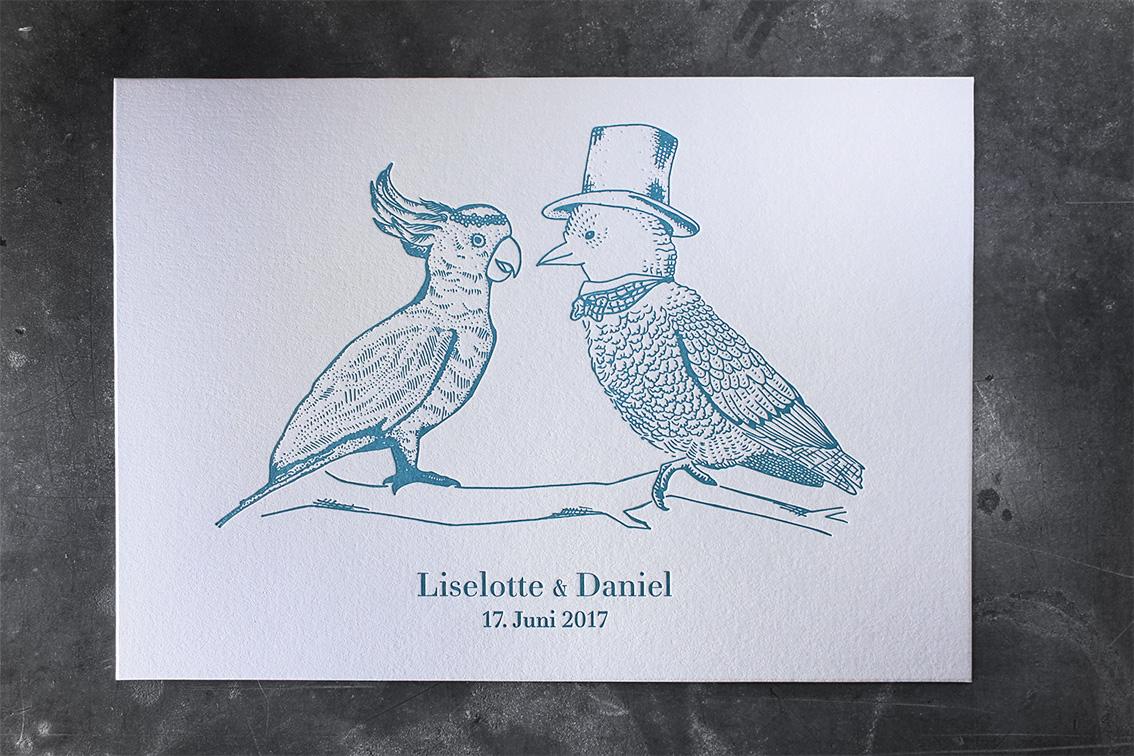 Letterpress Einladung Hochzeit Hochzeitseinladung handdrawn Zeichnung Tiefprägung Billet Klappkarte hochwertig