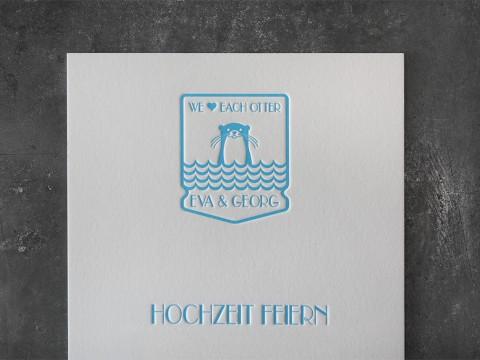 Letterpress Buchdruck hochwertig Tiefprägung Baumwollkarton Druckerei Hochzeit